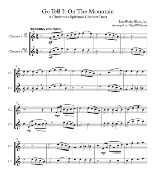 Go Tell It On The Mountain, for Clarinet Duet