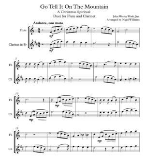 Go Tell It On The Mountain, Duet for Flute and Clarinet