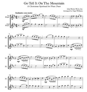 Go Tell It On The Mountain, for Flute Duet