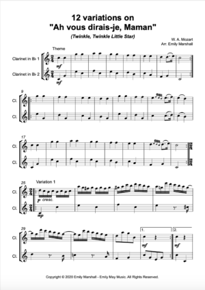 "12 Variations on ""Ah, vous dirais-je, Maman"" (Twinkle, Twinkle Little Star) K.265 (for Clarinet Duet)"