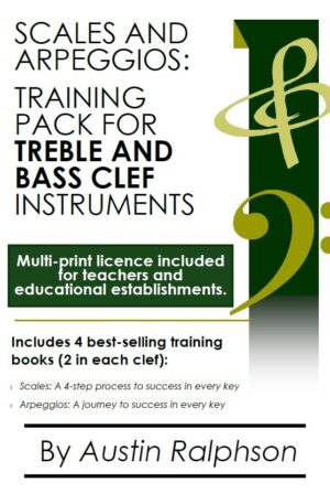 Scales and arpeggios book (pack) for all TREBLE AND BASS CLEF instruments