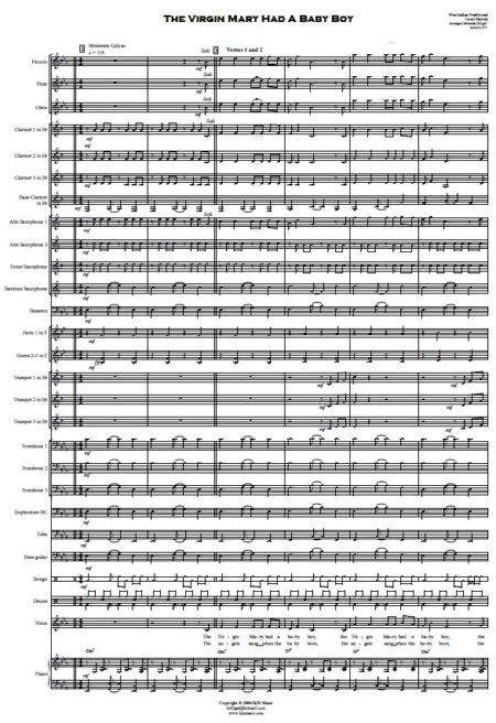 191 The Virgin Mary Had A Baby Boy Concert Band SAMPLE page 01