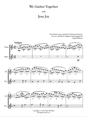 We Gather Together, with Jesu Joy, for Flute and Oboe (or Flute Duet)