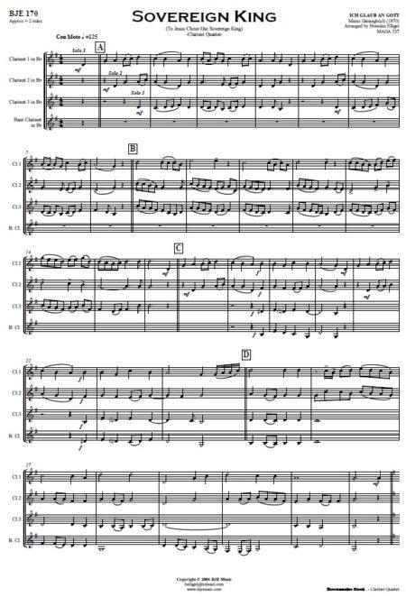 170 Sovereign King Clarinet Quartet SAMPLE page 01