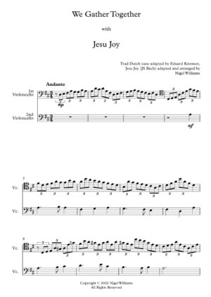 We Gather Together, with Jesu Joy, for Cello Duet