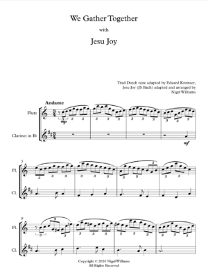 We Gather Together, with Jesu Joy, for Flute and Clarinet