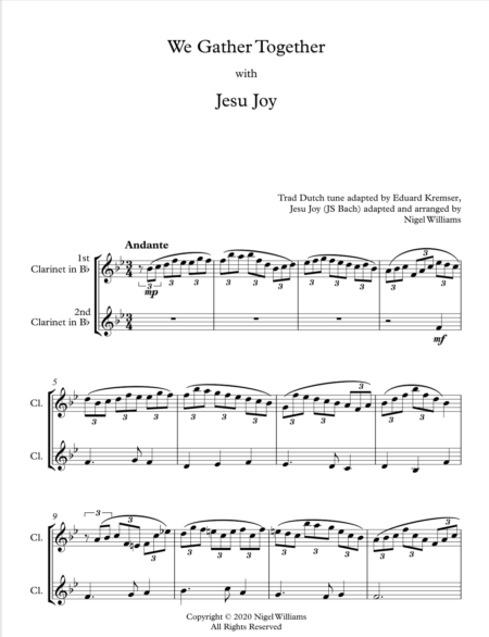We Gather Together, with Jesu Joy, for Clarinet Duet