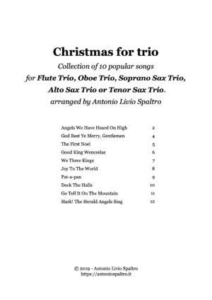Christmas Carols for Flute Trio (Oboe Trio or Sax Trio)