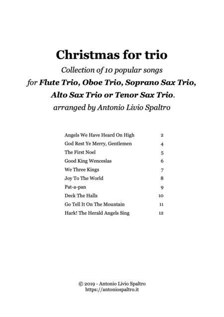 Christmas for trio flute oboe sax