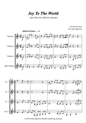 Joy to the World – Jazz Carol for Clarinet Quartet