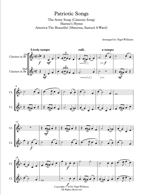 Patriotic Songs, A Medley for Clarinet Duet
