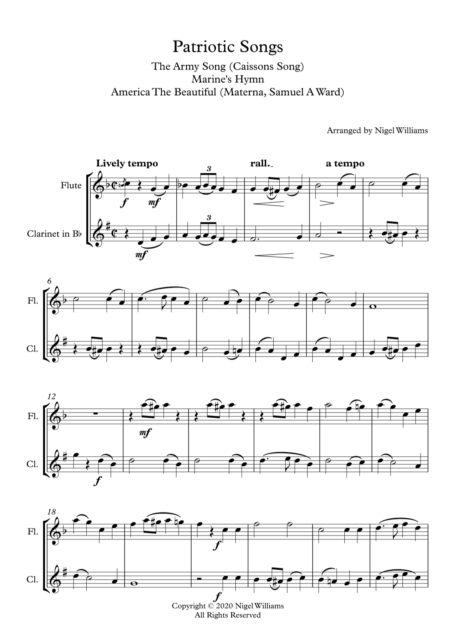 Patriotic Songs, A Medley for Woodwind Duet