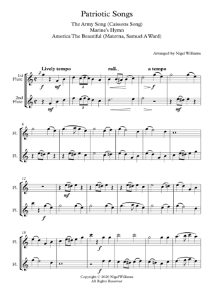 Patriotic Songs, A Medley for Flute Duet