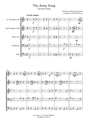 The Army Song, for Brass Quintet