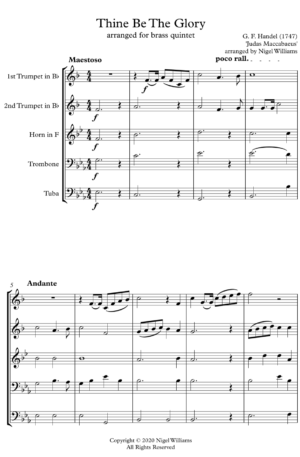 Thine Be The Glory, for brass quintet