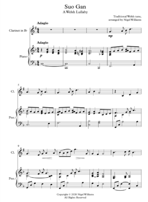 Suo Gan, A Welsh Lullaby, for Clarinet and Piano