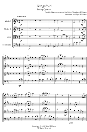 Kingsfold, an English Folk Tune, for String Quartet