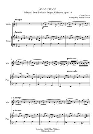 Meditation, for violin and piano