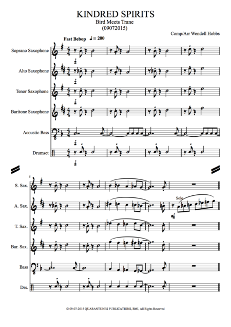 KINDRED SPIRITS Score and Parts copy
