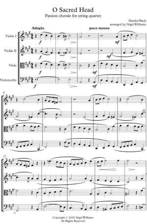 O Sacred Head, for String Quartet