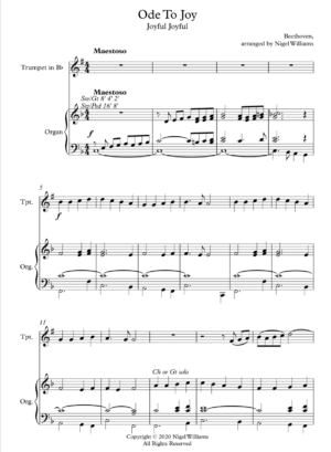 Ode To Joy, for Trumpet and Organ