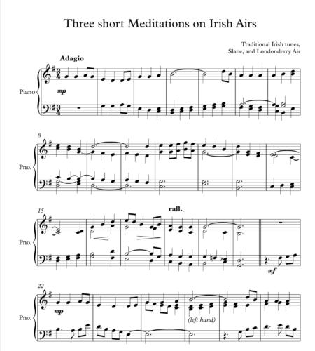 Three Short Meditation on Irish Airs, for Piano