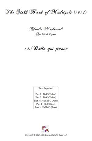 Flexi Quintet – Monteverdi, 6th Book of Madrigals (1614) – 12. Batto qui pianse
