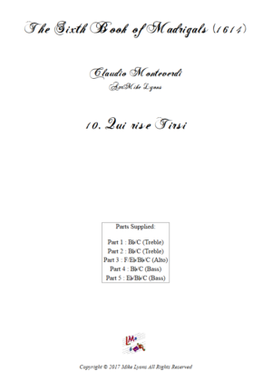 Flexi Quintet – Monteverdi, 6th Book of Madrigals (1614) – 10. Qui rise Tirsi