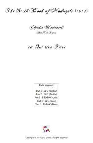 Flexi Quintet – Monteverdi, 6th Book of Madrigals (1614) – 10. Qui rise Tirsi