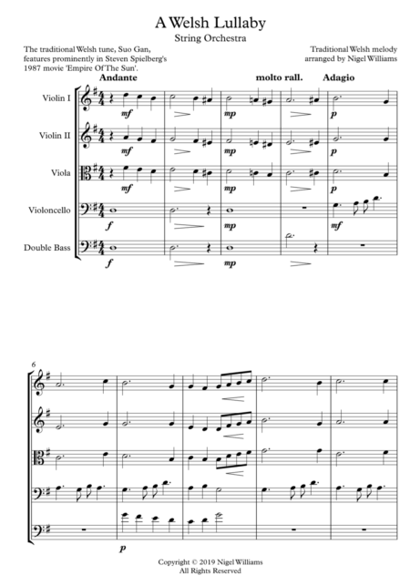 Welsh Lullaby, for String Orchestra