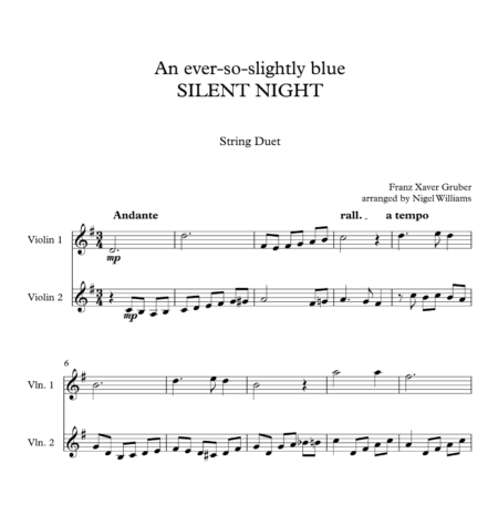 An ever-so-slightly blue SILENT NIGHT, for Violin Duet