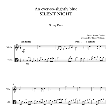 An ever-so-slightly blue SILENT NIGHT, for Violin and Viola