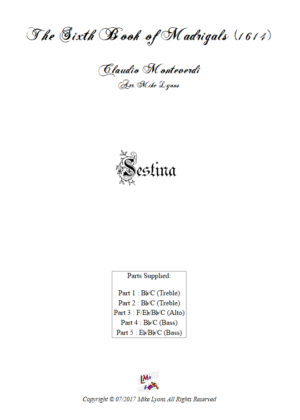 Flexi Quintet – Monteverdi, 6th Book of Madrigals (1614) – Sestina