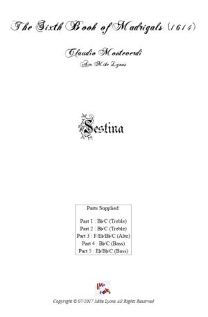 Flexi Quintet – Monteverdi, 6th Book of Madrigals (1614) – Sestina