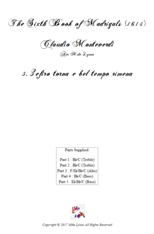 Flexi Quintet – Monteverdi, 6th Book of Madrigals (1614) – 05. Zefiro torna e bel tempo rimena