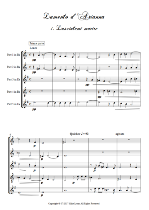 Flexi Quintet – Monteverdi, 6th Book of Madrigals (1614) – Lamento d'Arianna