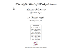 Flexi Quintet – Monteverdi, 5th Book of Madrigals (1605) – 19. Questi vaghi