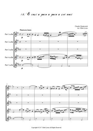 Flexi Quintet – Monteverdi, 5th Book of Madrigals (1605) – 18. E cosi a poco a poco