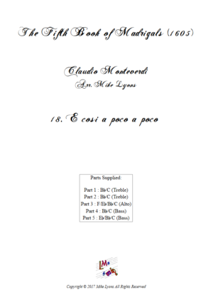 Flexi Quintet – Monteverdi, 5th Book of Madrigals (1605) – 18. E cosi a poco a poco