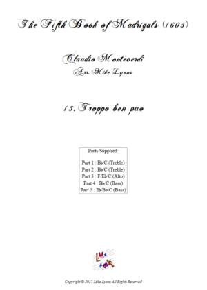 Flexi Quintet – Monteverdi, 5th Book of Madrigals (1605) – 15. Troppo ben puo