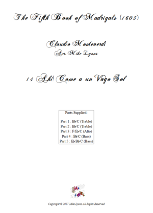 Flexi Quintet – Monteverdi, 5th Book of Madrigals (1605) – 14. Ahi! Come un vago sol