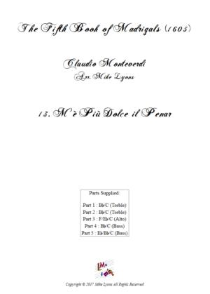 Flexi Quintet – Monteverdi, 5th Book of Madrigals (1605) – 13. M'e piu dolce il penar