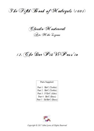 Flexi Quintet – Monteverdi, 5th Book of Madrigals (1605) – 12. Che dar piu vi poss'io