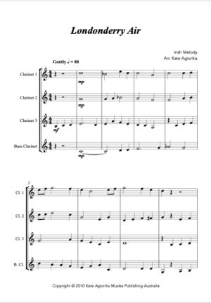 Londonderry Air – Jazz Arrangement for Clarinet Quartet