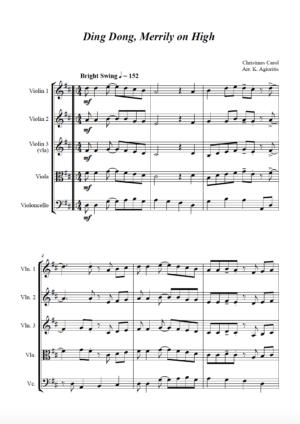 Ding Dong Merrily on High – Jazz Carol for String Quartet