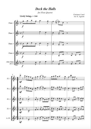 Deck the Halls – Jazz Carol for Flute Quartet