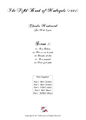 Flexi Quintet – Monteverdi, 5th Book of Madrigals (1605) – Scena 1 (Nos 4 – 8)