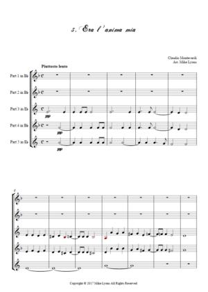 Flexi Quintet – Monteverdi, 5th Book of Madrigals (1605) – 03. Era l'anima mia