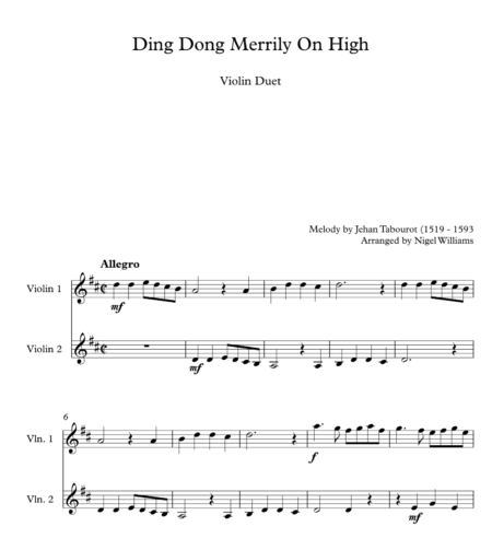 Ding Dong Merrily On High, for Violin Duet