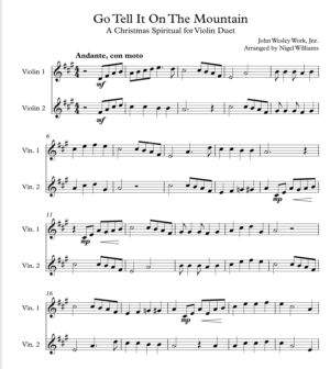 Go Tell It On The Mountain, for Violin Duet